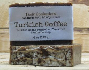 Turkish Coffee: Turkish mocha scented handmade coffee scrub cold process soap