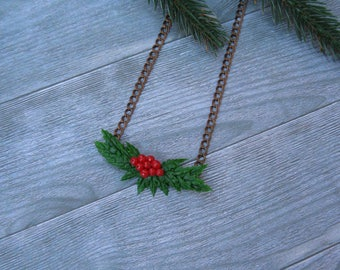 Christmas gift for her Christmas necklace Holiday jewelry Christmas jewelry Holiday necklace Winter necklace Xmas necklace Holly pendant