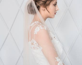 CUTE | Blush elbow length veil bridal light pink veil wedding veil illusion tulle