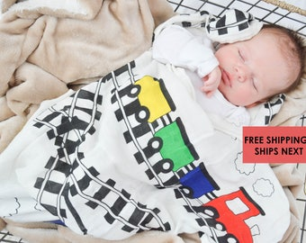 Baby Swaddle Blanket Trains / swaddle blanket / anniversary blanket / age  / growth blanket / newborn/ baby shower gift