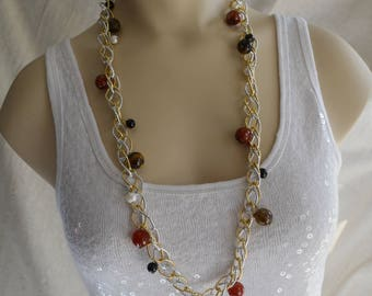 Silver & Gold Two-Tone Textured Link Chain Long Dangle Necklace with Mixed Gemstones, Agate, Tiger Eye, Onyx, Freshwater Pearl Beads