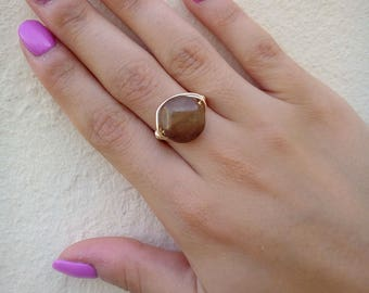 Olive Green Agate Ring, Gold Plated Agate Ring, Gemstone Ring, Gold Plated Ring, Wire Wrapped Ring, Tarnish Resistant Ring