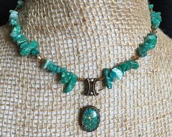 Handmade Genuine Amazonite Stone Copper Quartz Crystal Beaded Floating Oval Medallion pendant Choker Small Necklace