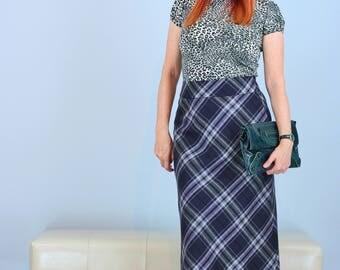 """1990s Skirt - Plaid Midi Skirt - A-line - Purple Grey - Size Small Medium 28"""" Waist - Winter Fall - Tartan Midi Skirt"""