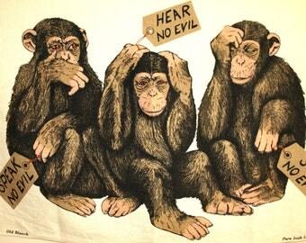 Three Wise Monkeys Tea Towel - Vintage Kitsch Chimpanzees Apes See No Evil Hear No Evil Speak No Evil by Old Bleach
