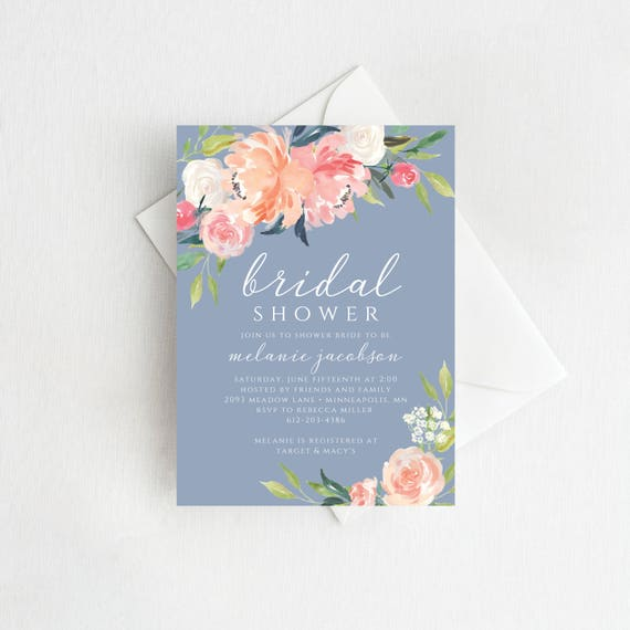 Dusty blue bridal shower invitation printable bridal for Bridal shower email invitations