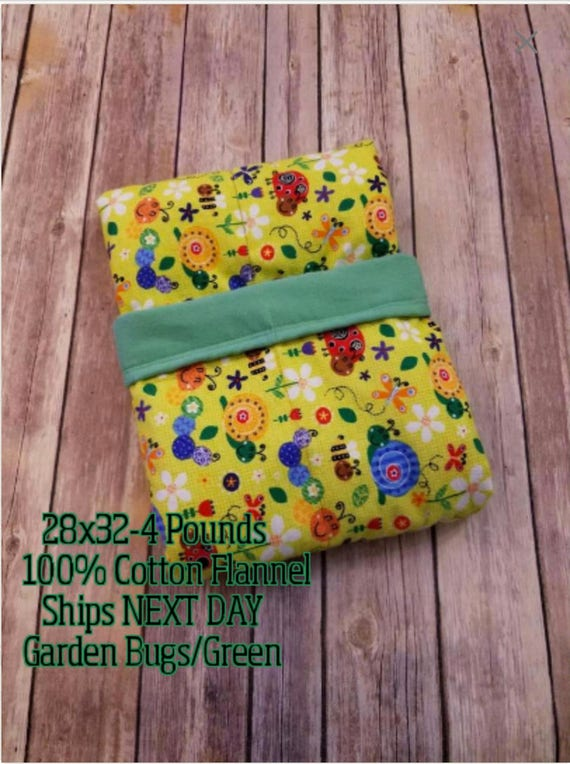 Garden Friends, 4 Pound, WEIGHTED BLANKET, Ladybug, Snail, Ready To Ship, 4 pounds, 28x32 for Autism, Sensory, ADHD, Calming, Anxiety,