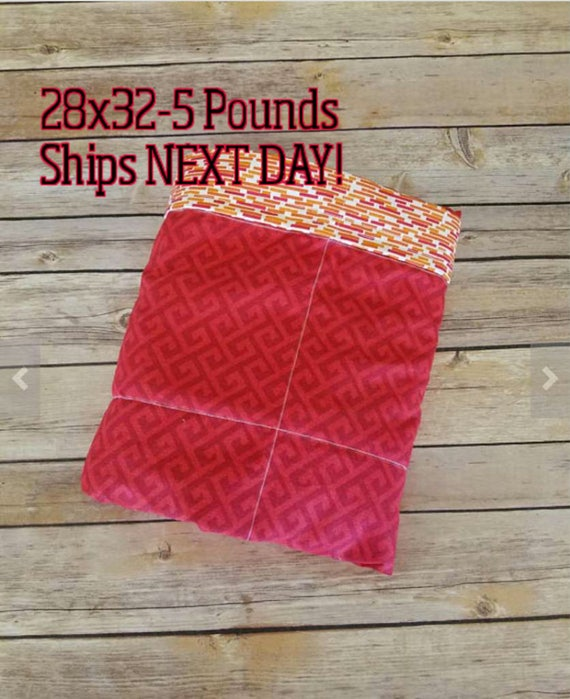 Red Greek, 5 Pound, WEIGHTED BLANKET, 5 pounds, 26x32, for Autism, Sensory, ADHD, Calming, Anxiety,