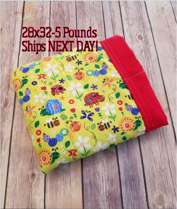 Garden Friends, 5 Pound, WEIGHTED BLANKET, Ready To Ship 5 pounds, 28x32, for Autism, Sensory, ADHD, Calming, Anxiety,