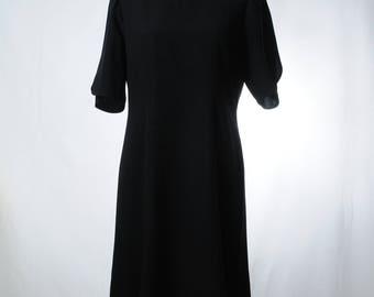 Vintage black midi dress with petal sleeves