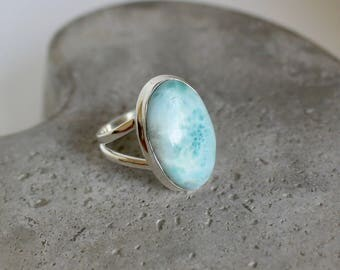 Larimar Sterling Silver Ring Size 8