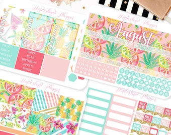 August Monthly View - Summer Fruits Themed Planner Sticker Monthly Kit // 145+ Stickers // Perfect for Erin Condren Vertical Planner