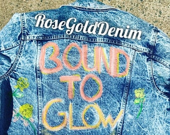 Sale 15% OFF Distressed Denim Handpainted Jacket ( bound to glow )