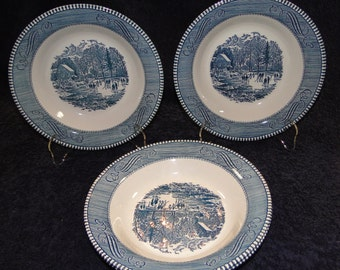 FOUR Currier Ives Royal China Blue White Early Winter Soup Bowls Set of 4 EXCELLENT!