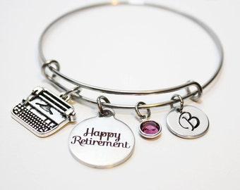 personalized secretary retirement bracelet, secretary retirement gift, secretary retirement bangle, secretary retirement jewelry, secretary