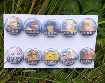 "Super Smash Bros Melee viable character select icons - 10 button set - 1"" video game badges pins enamel pinbacks SSBM"