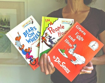 THREE Vintage Hard Cover Children's Books, Bears on Wheels, In a People House, Green Eggs and Ham, Dr. Seuss, Beginner Books, Vintage Books