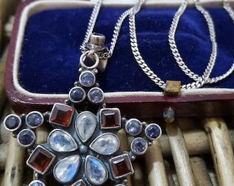 Vintage 925 sterling silver necklace, large pendant, moonstone, garnet,tanzanite