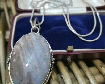 Vintage 925 Sterling Silver Necklace, Leopard Skin Rhyolite Gemstone, Beautiful