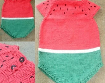 Knitted newborn Watermelon Romper 100% cotton, Ready to ship! Size 3-6 months, romper baby boy ready to ship! Size 3-6 months