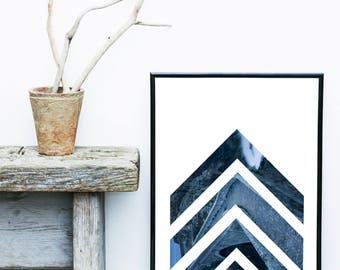 Blue Geometric Print, Scandinavian Art Print, Minimalist Art, Abstract Art Print,  Giclee print, Wall Art, Poster