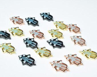 Evil Eye Hamsa Hand Micro Pave Cubic Zirconia CZ Rhinestone Beads Connector High Quality 3 Colors
