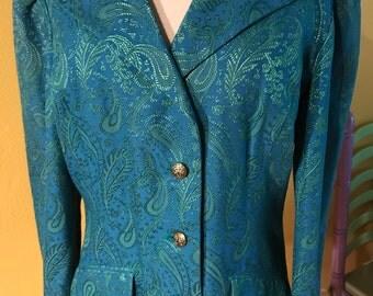 60's Blazer. Turquoise & Green. Textured fabric.