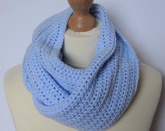 Blue Crocheted Chunky Scarf, Chunky Scarf, Long Blue Scarf, Sparkly Scarf, Warm Scarf, Ladies Scarf, Winter Accessories, Handmade Scarf