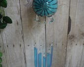 Blown Glass Flying Pig with Turquoise Glass Chimes