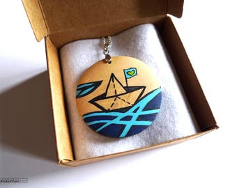 Sailor necklace, wooden necklace, free shipping, boat necklace, sailor necklace, hand painted necklace, wooden pendant, unique necklace