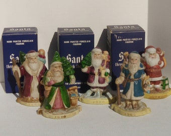 Santa Through the Years 1890, 1900, 1910, 1920 and 1940, Set of Five Porcelain Santas, Santa Through the Years Set