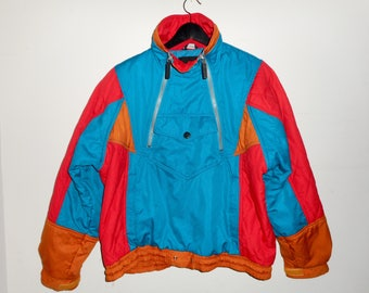 Retro 80s Ski Jacket Fluorescent Blue Vintage Bomber Coat 1980s Flashy Jacket Winter Ski Snow Suit Festival 80's Retro Bright Light Downfill