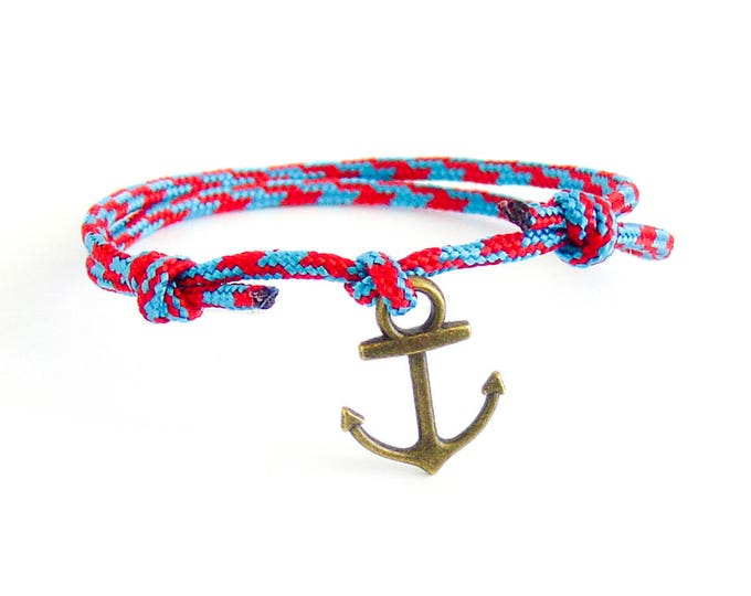 Mens Bracelet With Anchor, Mens Blue Anchor Bracelet, Mens Rope And Anchor Bracelet For Men, For Guys, For Her And Him. Cord Rope With Knots
