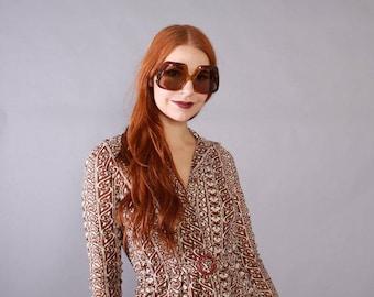 Vintage 70s SUNGLASSES / 1970s Clear 2-Tone Brown Oversized Designer Sun Glasses