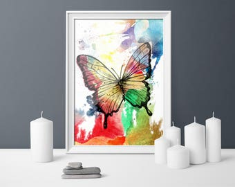 Colorful Butterfly, Watercolour, printable art, Home Décor, housewarming gift, gift for her