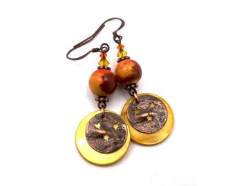 Earrings yellow, mustard, Orange, copper, rock, Star sequins