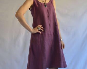The Beach Dress Midi-  Women's Linen A-line Tank Dress in Plum
