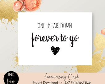 Printable Anniversary Card | one year anniversary, gift for wife, gift for husband,  5x7 greeting card, girlfriend card, boyfriend card