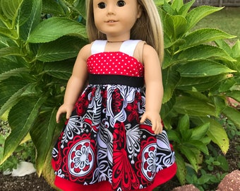 18 inch doll clothes,American Girl doll clothes,AG doll dresses,Doll Clothes,Sundress for AG, Red/White/Black Dress for 18 inch doll,dress