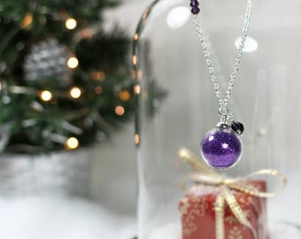 Collier Bulle paillettes violettes - Once Upon a Fantasy