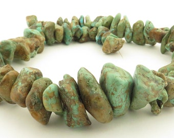 """Vintage Natural Turquoise Nuggets on 17"""" Strand / 115 grams."""