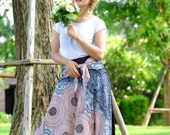 Long skirt Rose Skirt hippie Skirt flower skirt Grey-Red