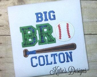 Big Brother Shirt, Big Bro shirt, Baseball brother, brother shirt, brother, baseball, Big Bro Baseball shirt, personalized, embroidered, boy