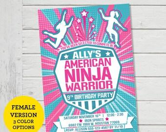 American Ninja Warrior Girls Invitation ANW Birthday Ninja Warrior Invitations Parkour Obstacle Course Party Invite (Evite) Digital File
