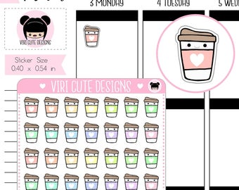Kawaii Coffee Planner Stickers, hand drawn stickers, coffee stickers, kawaii planner stickers, planner stickers, coffee planner stickers|021