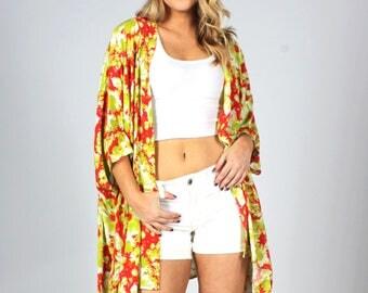 Kimono, Boho Kimono, Floral Kimono, Swimsuit Coverup, Kimono Coverup, Hippie, Oversized Coverup, Red Green White Kimono, Colorful Kimono