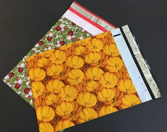 100 Designer 10x 13 PUMPKIN and HOLLYBERRY Poly Mailers 50 each Envelopes Shipping Bags Christmas Fall Halloween