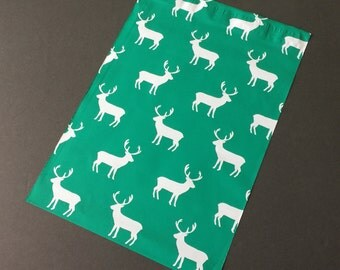 25 10x13 DEER  Designer Poly Mailers Christmas Green Envelopes Shipping Bags