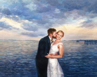Couple Portrait Art. Wedding Portrait Art. Custom Wedding Gifts. Personalized Wedding Painting. Modern Art Acrylic Paintings on Canvas