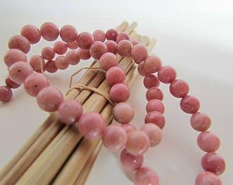 rhondonite pink rhondonite bead, Pearl gemstones, 8mm, 6 mm, 4 mm - 465